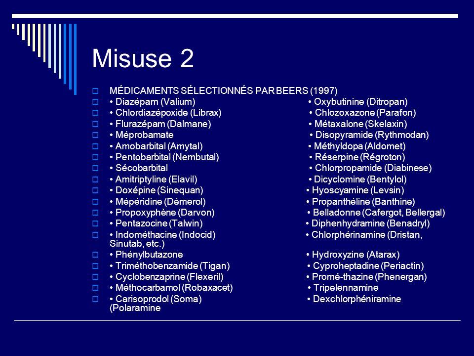Misuse 2 MÉDICAMENTS SÉLECTIONNÉS PAR BEERS (1997) Diazépam (Valium) Oxybutinine (Ditropan) Chlordiazépoxide (Librax) Chlozoxazone (Parafon) Flurazépa