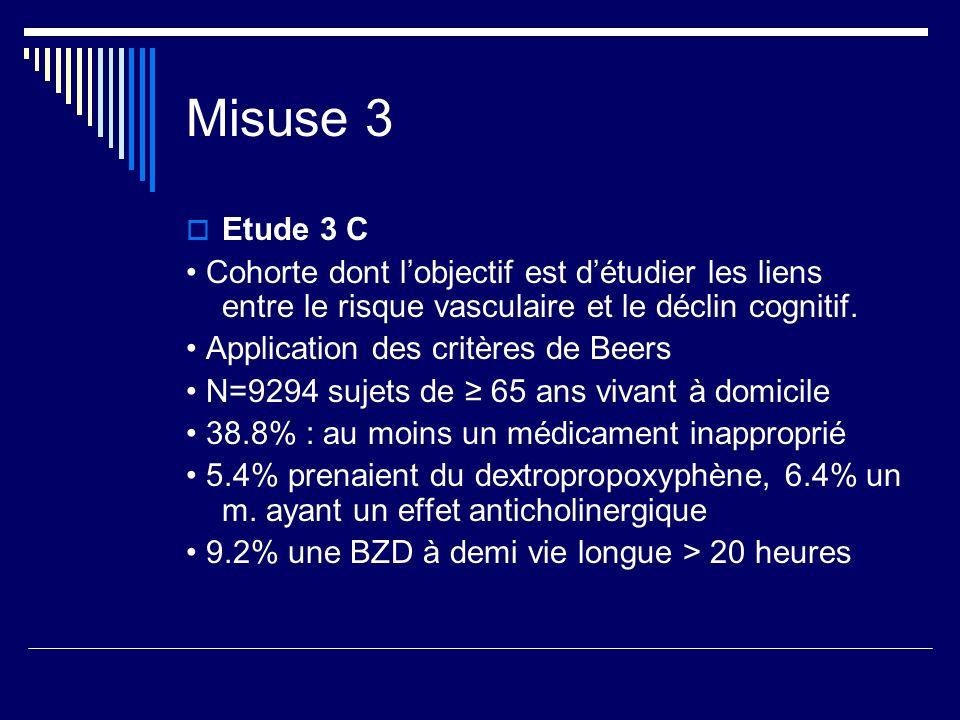 Misuse 3 Etude 3 C Cohorte dont lobjectif est détudier les liens entre le risque vasculaire et le déclin cognitif. Application des critères de Beers N