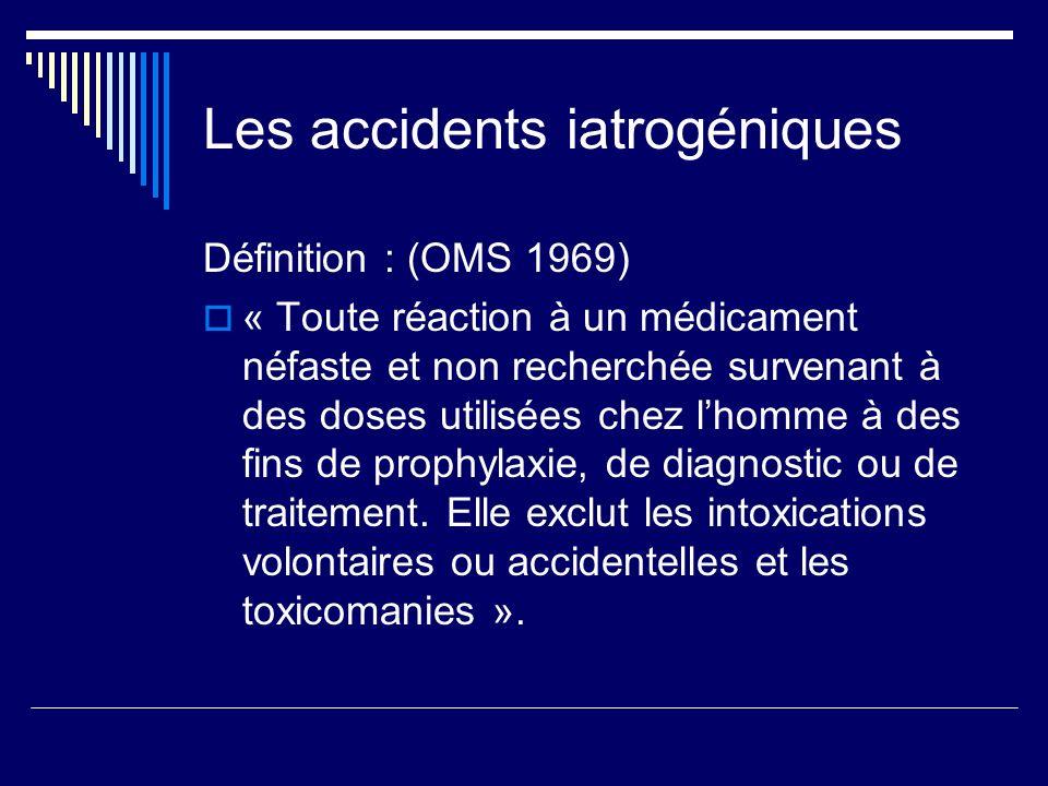 Les accidents iatrogéniques Définition : (OMS 1969) « Toute réaction à un médicament néfaste et non recherchée survenant à des doses utilisées chez lh