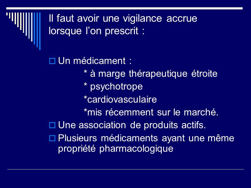 Il faut avoir une vigilance accrue lorsque lon prescrit : Un médicament : * à marge thérapeutique étroite * psychotrope *cardiovasculaire *mis récemme