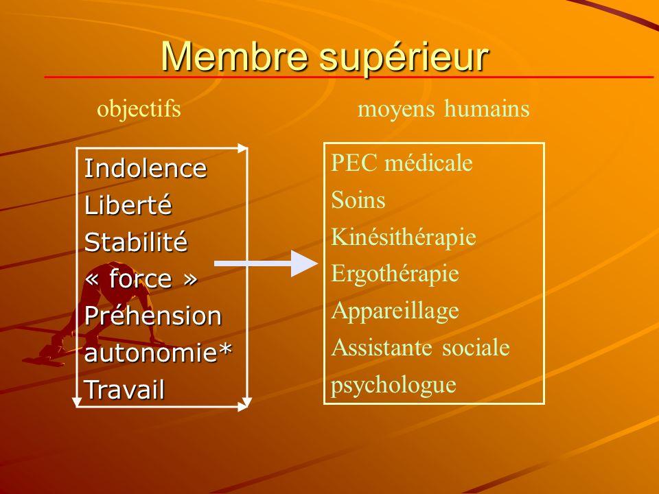 IndolenceLibertéStabilité« force »Préhensionautonomie*Travail PEC médicale Soins Kinésithérapie Ergothérapie Appareillage Assistante sociale psycholog