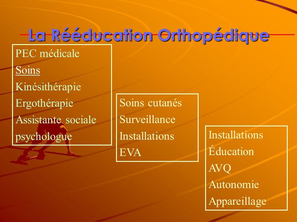La Rééducation Orthopédique Soins cutanés Surveillance Installations EVA Installations Éducation AVQ Autonomie Appareillage PEC médicale Soins Kinésit