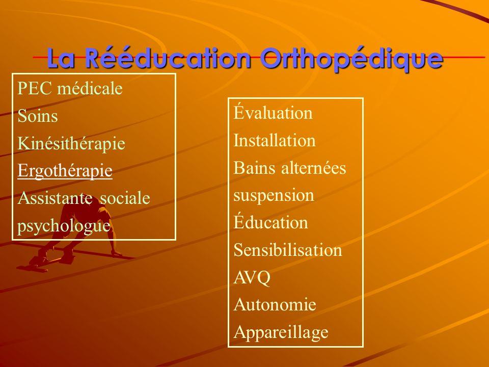 La Rééducation Orthopédique Évaluation Installation Bains alternées suspension Éducation Sensibilisation AVQ Autonomie Appareillage PEC médicale Soins