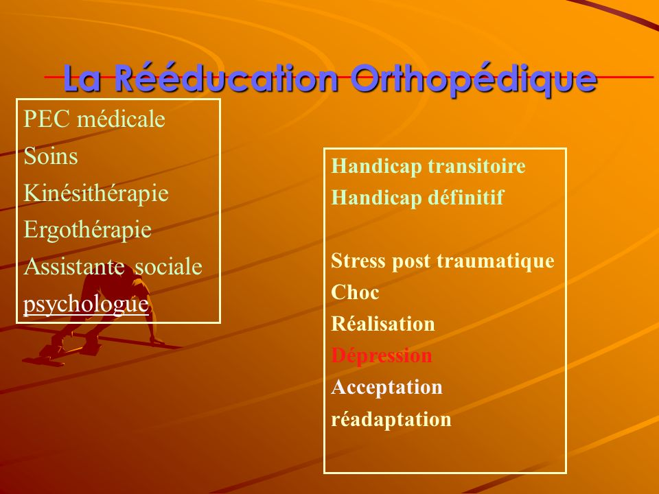 La Rééducation Orthopédique Handicap transitoire Handicap définitif Stress post traumatique Choc Réalisation Dépression Acceptation réadaptation PEC m