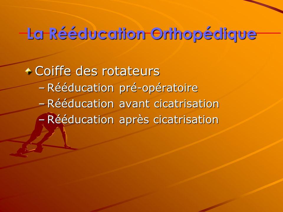 La Rééducation Orthopédique Coiffe des rotateurs –Rééducation pré-opératoire –Rééducation avant cicatrisation –Rééducation après cicatrisation