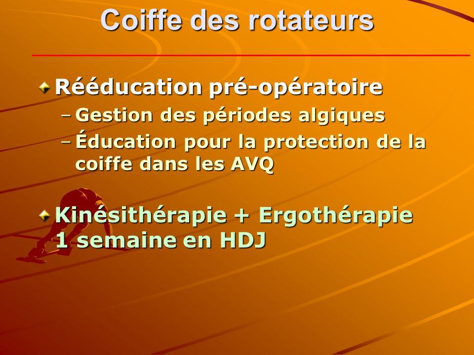 Coiffe des rotateurs Rééducation pré-opératoire –Gestion des périodes algiques –Éducation pour la protection de la coiffe dans les AVQ Kinésithérapie + Ergothérapie 1 semaine en HDJ