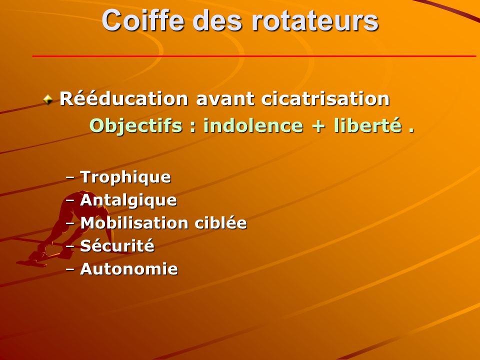 Coiffe des rotateurs Rééducation avant cicatrisation Objectifs : indolence + liberté. –Trophique –Antalgique –Mobilisation ciblée –Sécurité –Autonomie