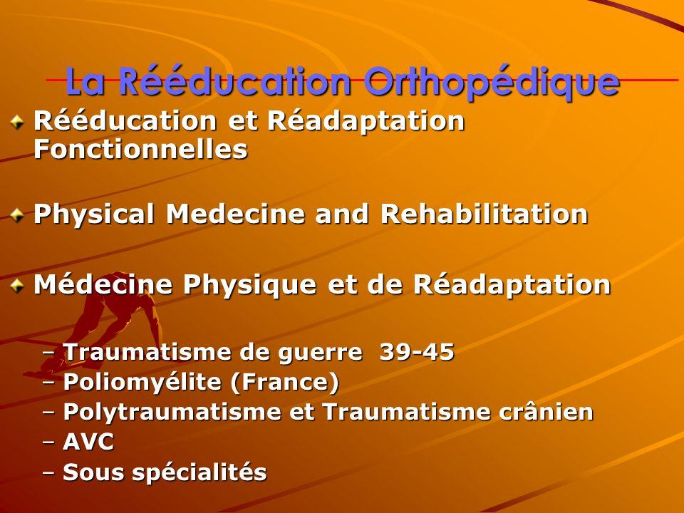 La Rééducation Orthopédique Rééducation et Réadaptation Fonctionnelles Physical Medecine and Rehabilitation Médecine Physique et de Réadaptation –Trau