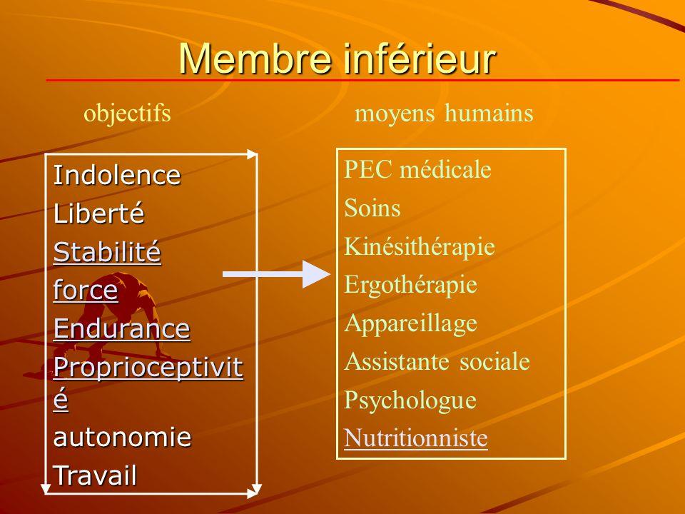 Membre inférieur IndolenceLibertéStabilité force force Endurance Proprioceptivit é autonomieTravail PEC médicale Soins Kinésithérapie Ergothérapie App