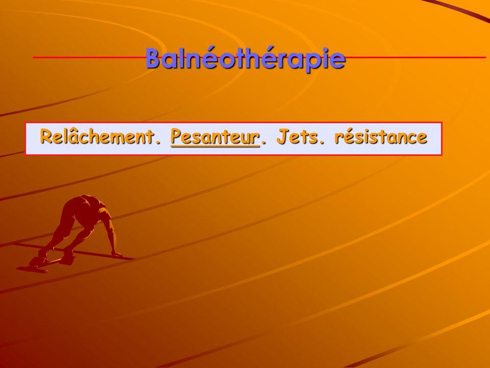 Balnéothérapie Relâchement. Pesanteur. Jets. résistance