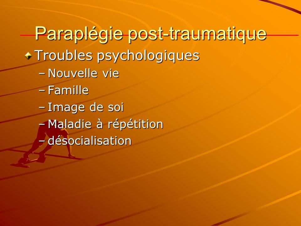 Paraplégie post-traumatique Troubles psychologiques –Nouvelle vie –Famille –Image de soi –Maladie à répétition –désocialisation
