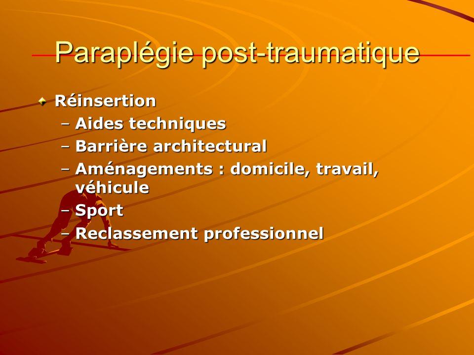 Paraplégie post-traumatique Réinsertion –Aides techniques –Barrière architectural –Aménagements : domicile, travail, véhicule –Sport –Reclassement pro