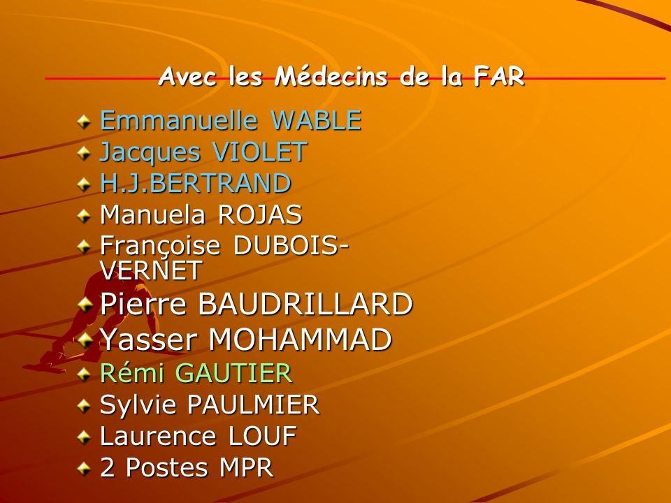 Avec les Médecins de la FAR Emmanuelle WABLE Jacques VIOLET H.J.BERTRAND Manuela ROJAS Françoise DUBOIS- VERNET Pierre BAUDRILLARD Yasser MOHAMMAD Rém