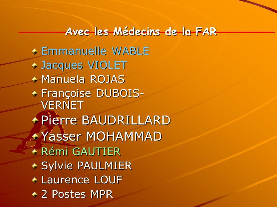 Avec les Médecins de la FAR Emmanuelle WABLE Jacques VIOLET Manuela ROJAS Françoise DUBOIS- VERNET Pierre BAUDRILLARD Yasser MOHAMMAD Rémi GAUTIER Syl