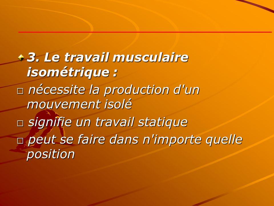 3. Le travail musculaire isométrique : nécessite la production d'un mouvement isolé nécessite la production d'un mouvement isolé signifie un travail s