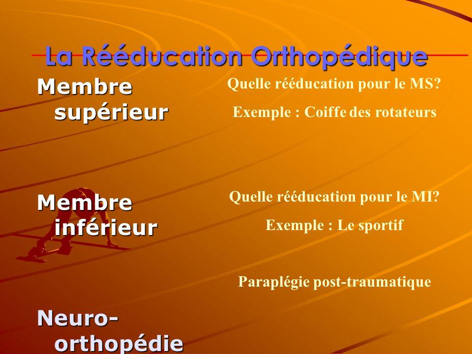 La Rééducation Orthopédique Membre supérieur Membre inférieur Neuro- orthopédie Quelle rééducation pour le MS? Exemple : Coiffe des rotateurs Quelle r