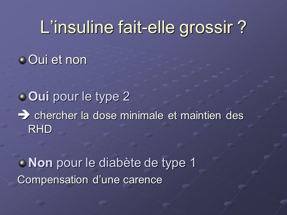 Oui et non Oui pour le type 2 chercher la dose minimale et maintien des RHD chercher la dose minimale et maintien des RHD Non pour le diabète de type