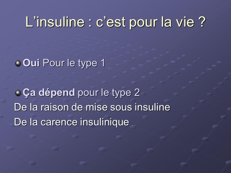 Oui Pour le type 1 Ça dépend pour le type 2 De la raison de mise sous insuline De la carence insulinique