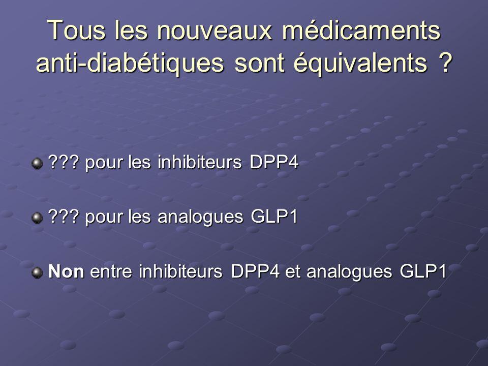 ??? pour les inhibiteurs DPP4 ??? pour les analogues GLP1 Non entre inhibiteurs DPP4 et analogues GLP1