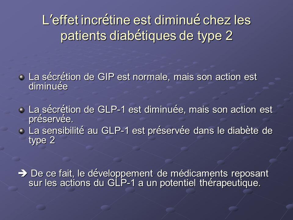La s é cr é tion de GIP est normale, mais son action est diminu é e La s é cr é tion de GLP-1 est diminu é e, mais son action est pr é serv é e. La se