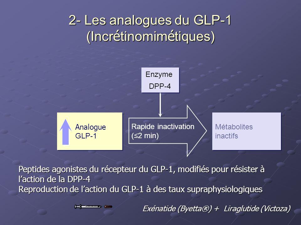 Analogue GLP-1 Analogue GLP-1 Métabolites inactifs Métabolites inactifs Rapide inactivation (2 min) Enzyme DPP-4 Enzyme DPP-4 2- Les analogues du GLP-