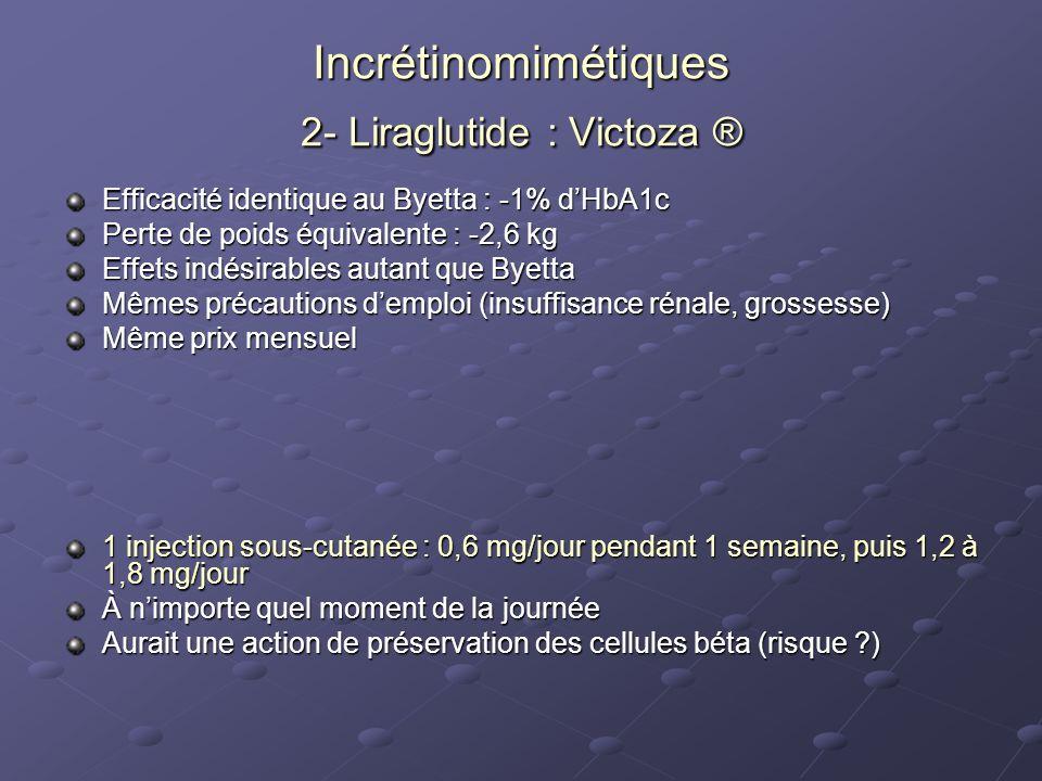 Incrétinomimétiques 2- Liraglutide : Victoza ® Efficacité identique au Byetta : -1% dHbA1c Perte de poids équivalente : -2,6 kg Effets indésirables au