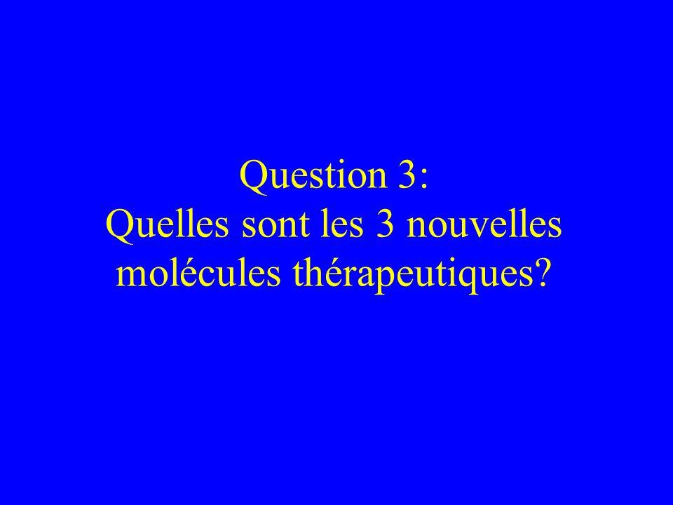 Question 3: Quelles sont les 3 nouvelles molécules thérapeutiques?
