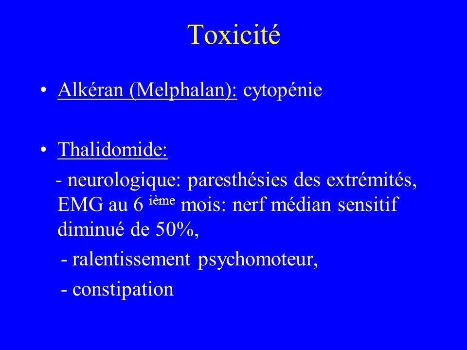 Toxicité Alkéran (Melphalan): cytopénie Thalidomide: - neurologique: paresthésies des extrémités, EMG au 6 ième mois: nerf médian sensitif diminué de