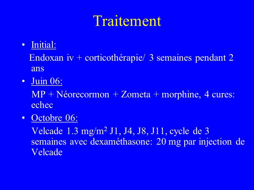 Traitement Initial: Endoxan iv + corticothérapie/ 3 semaines pendant 2 ans Juin 06: MP + Néorecormon + Zometa + morphine, 4 cures: echec Octobre 06: V