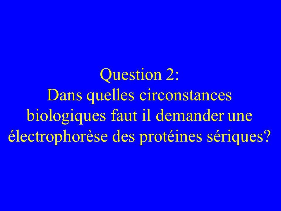Question 2: Dans quelles circonstances biologiques faut il demander une électrophorèse des protéines sériques?