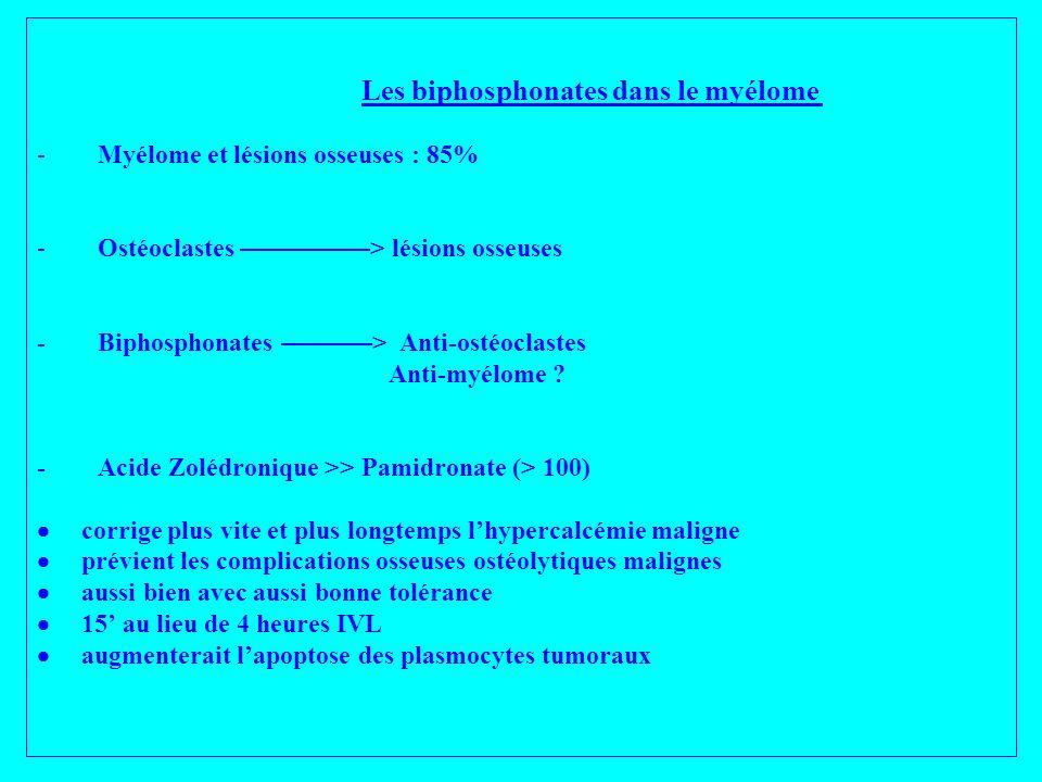 Les biphosphonates dans le myélome - Myélome et lésions osseuses : 85% - Ostéoclastes ––––––––––> lésions osseuses - Biphosphonates –––––––> Anti-osté