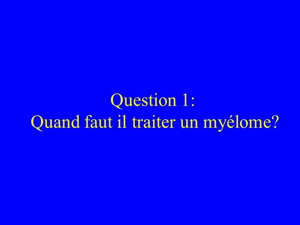 Question 1: Quand faut il traiter un myélome?