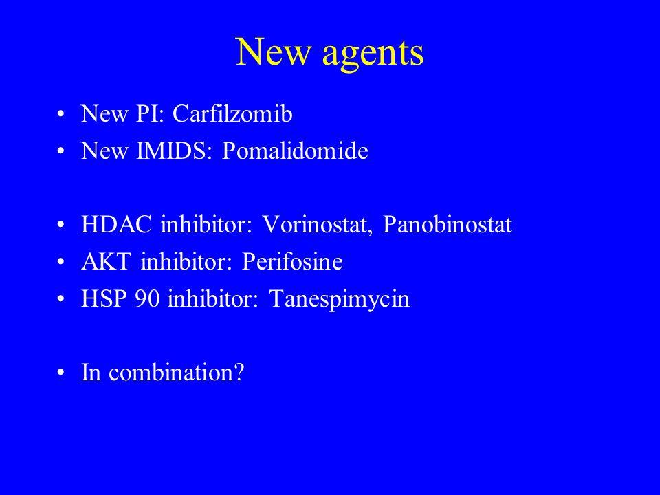 New agents New PI: Carfilzomib New IMIDS: Pomalidomide HDAC inhibitor: Vorinostat, Panobinostat AKT inhibitor: Perifosine HSP 90 inhibitor: Tanespimyc