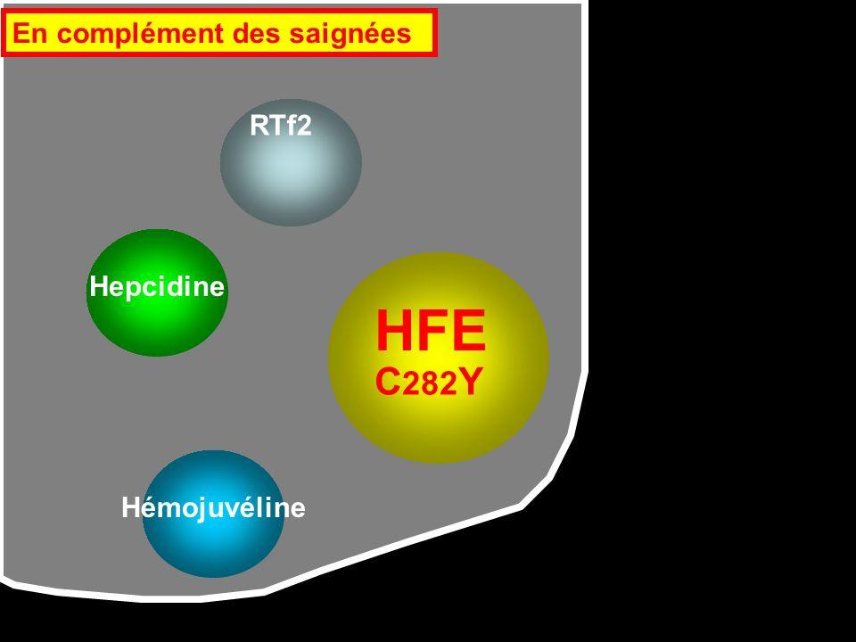 HFE RTf2 Hémojuvéline Hepcidine C 282 Y En complément des saignées