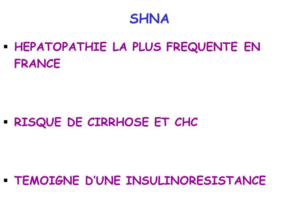 SHNA HEPATOPATHIE LA PLUS FREQUENTE EN FRANCE RISQUE DE CIRRHOSE ET CHC TEMOIGNE DUNE INSULINORESISTANCE