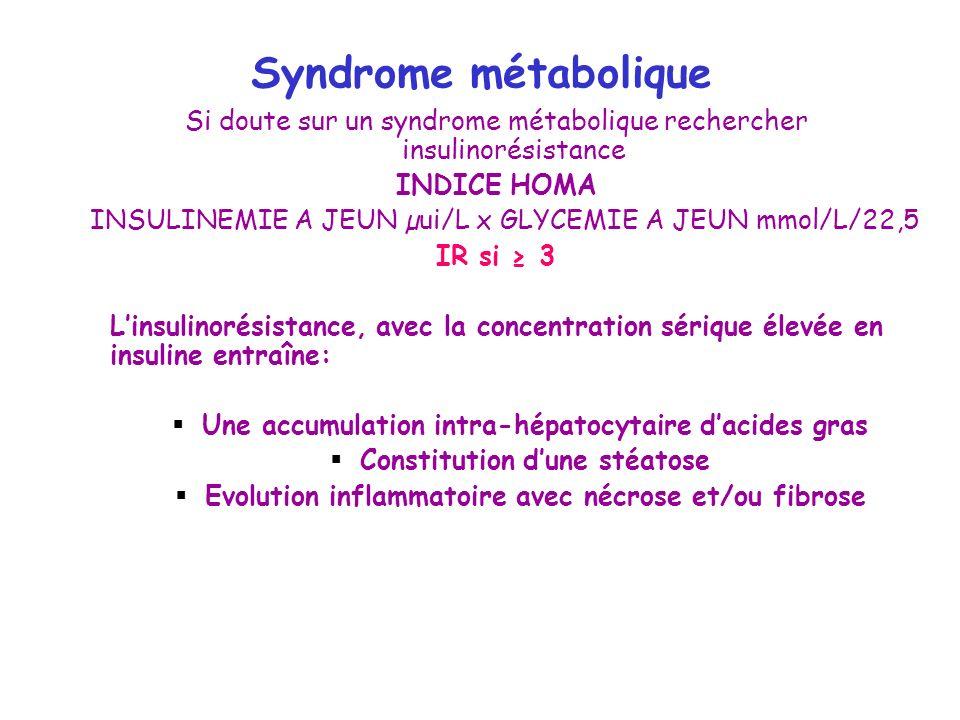 Syndrome métabolique Si doute sur un syndrome métabolique rechercher insulinorésistance INDICE HOMA INSULINEMIE A JEUN µui/L x GLYCEMIE A JEUN mmol/L/