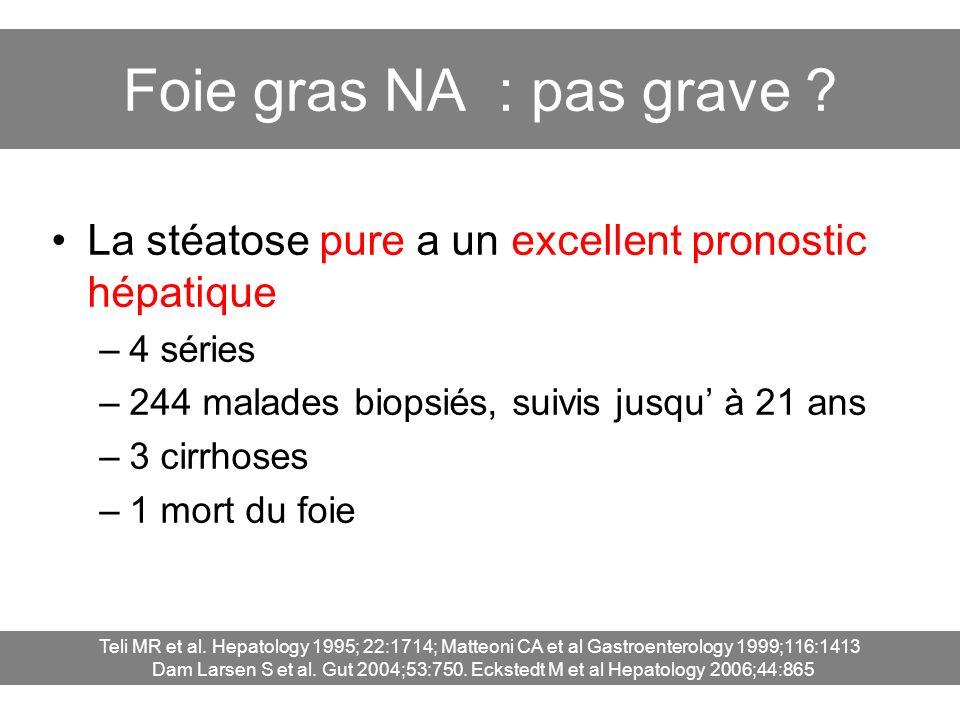 Foie gras NA : pas grave ? La stéatose pure a un excellent pronostic hépatique –4 séries –244 malades biopsiés, suivis jusqu à 21 ans –3 cirrhoses –1