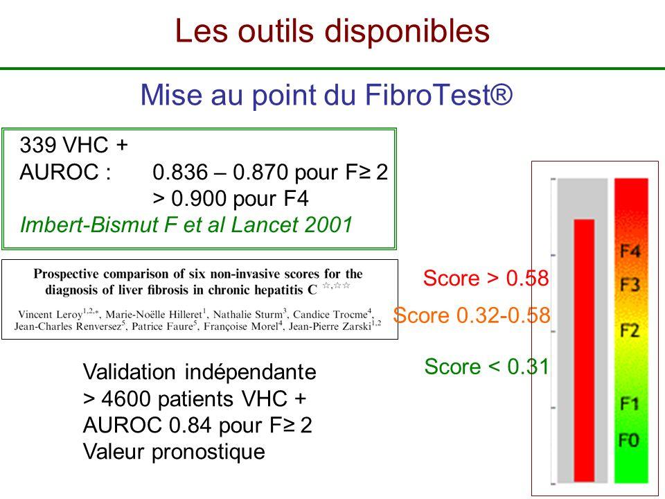 Mise au point du FibroTest® 339 VHC + AUROC : 0.836 – 0.870 pour F 2 > 0.900 pour F4 Imbert-Bismut F et al Lancet 2001 Score < 0.31 Score 0.32-0.58 Sc