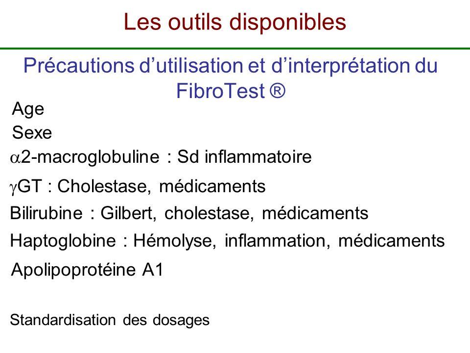 Standardisation des dosages Sexe Bilirubine : Gilbert, cholestase, médicaments 2-macroglobuline : Sd inflammatoire Age GT : Cholestase, médicaments Ha