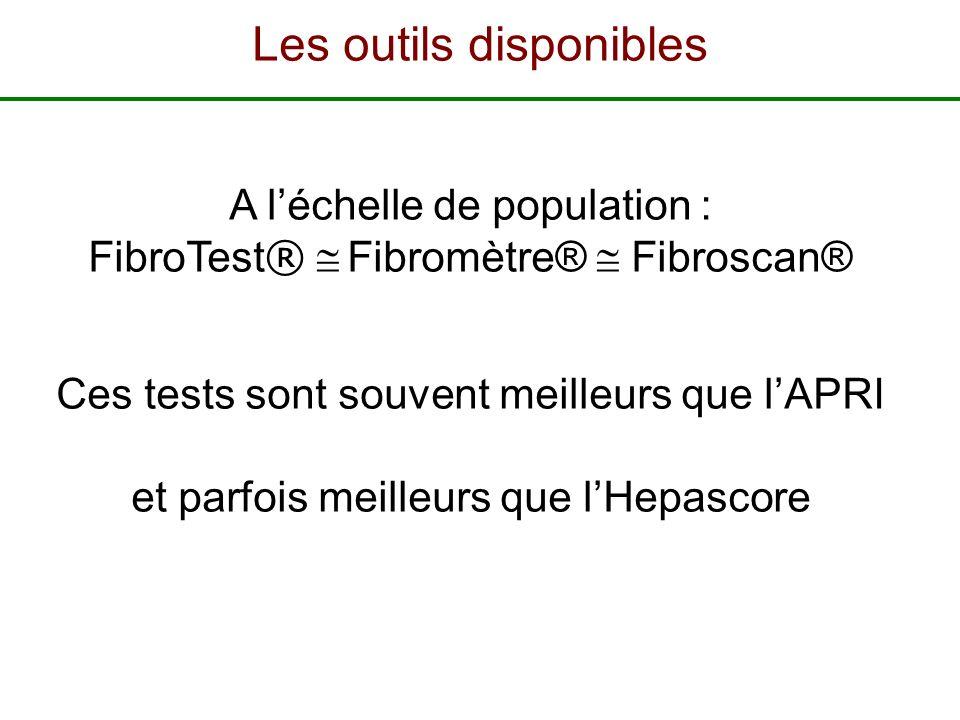A léchelle de population : FibroTest ® Fibromètre® Fibroscan® Ces tests sont souvent meilleurs que lAPRI et parfois meilleurs que lHepascore Les outil