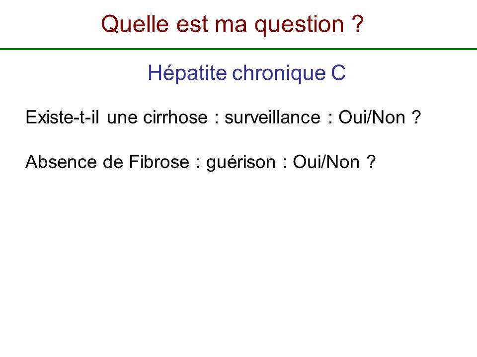 Existe-t-il une cirrhose : surveillance : Oui/Non ? Absence de Fibrose : guérison : Oui/Non ? Hépatite chronique C Quelle est ma question ?
