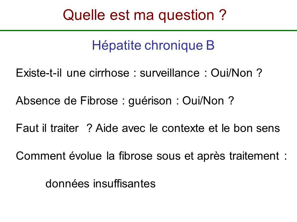 Hépatite chronique B Existe-t-il une cirrhose : surveillance : Oui/Non ? Absence de Fibrose : guérison : Oui/Non ? Faut il traiter ? Aide avec le cont