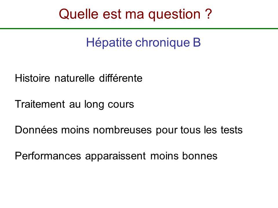 Histoire naturelle différente Traitement au long cours Données moins nombreuses pour tous les tests Performances apparaissent moins bonnes Hépatite ch