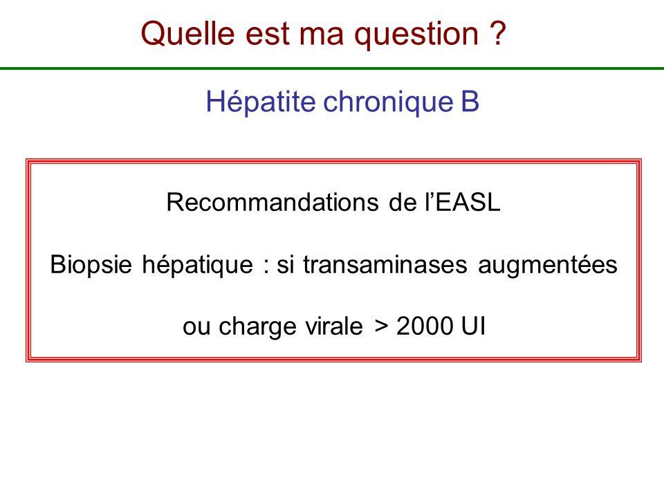 Recommandations de lEASL Biopsie hépatique : si transaminases augmentées ou charge virale > 2000 UI Hépatite chronique B Quelle est ma question ?