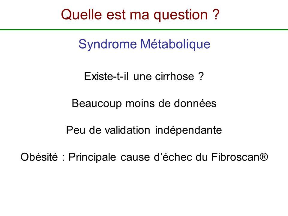 Existe-t-il une cirrhose ? Beaucoup moins de données Peu de validation indépendante Obésité : Principale cause déchec du Fibroscan® Syndrome Métaboliq