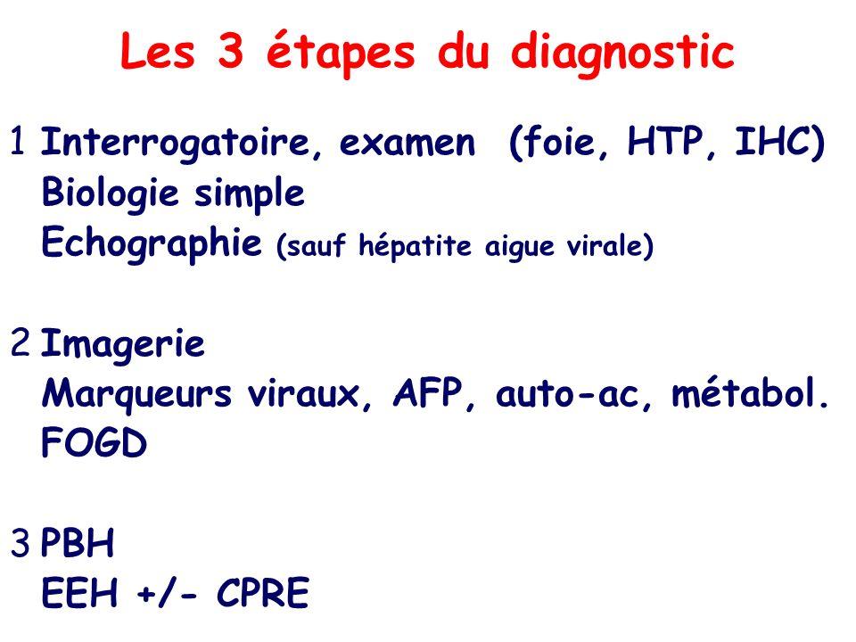 Les 3 étapes du diagnostic 1Interrogatoire, examen (foie, HTP, IHC) Biologie simple Echographie (sauf hépatite aigue virale) 2Imagerie Marqueurs virau