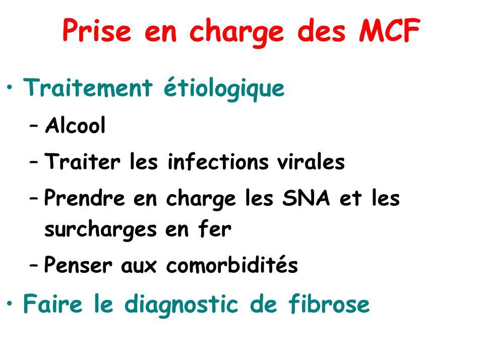 Prise en charge des MCF Traitement étiologique –Alcool –Traiter les infections virales –Prendre en charge les SNA et les surcharges en fer –Penser aux