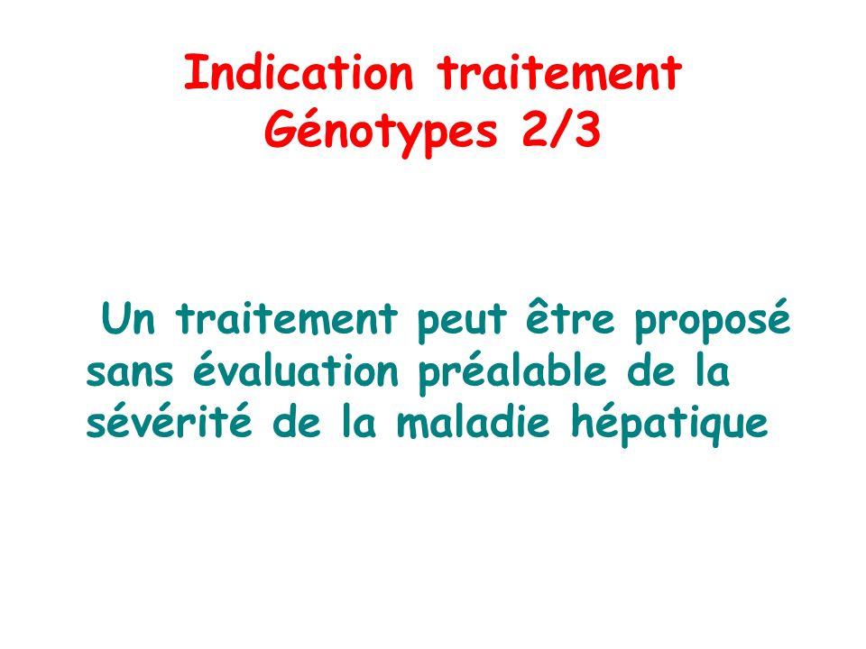 Indication traitement Génotypes 2/3 Un traitement peut être proposé sans évaluation préalable de la sévérité de la maladie hépatique Conf consensus tr