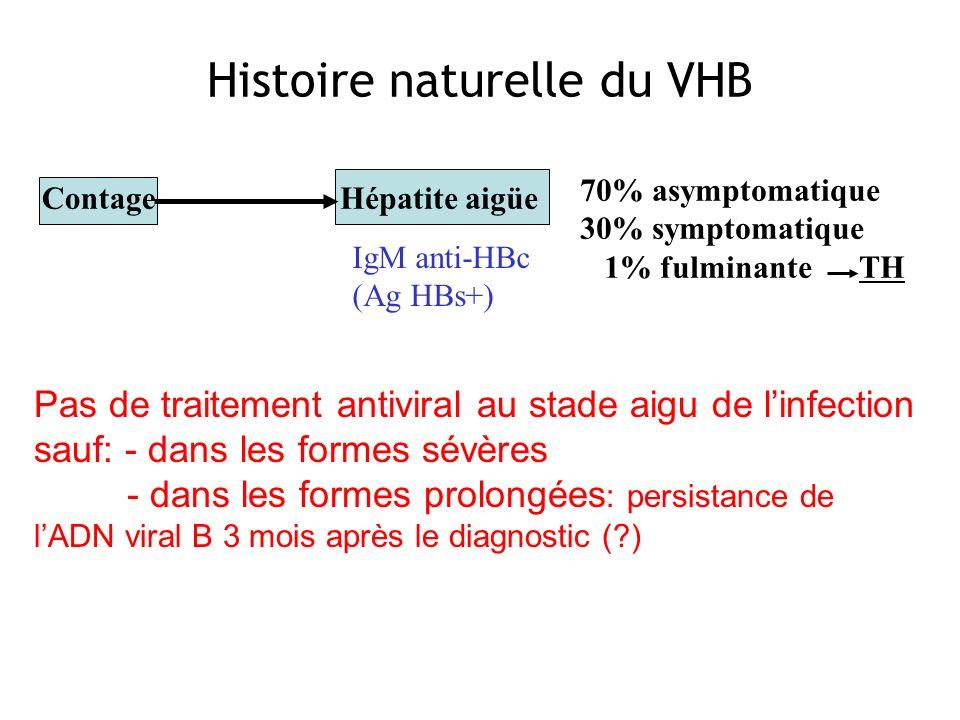 Contage 70% asymptomatique 30% symptomatique 1% fulminante TH Hépatite aigüe Histoire naturelle du VHB IgM anti-HBc (Ag HBs+) Pas de traitement antivi