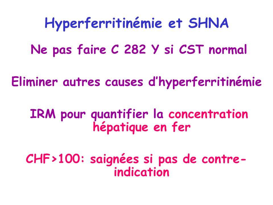 Hyperferritinémie et SHNA Ne pas faire C 282 Y si CST normal Eliminer autres causes dhyperferritinémie IRM pour quantifier la concentration hépatique